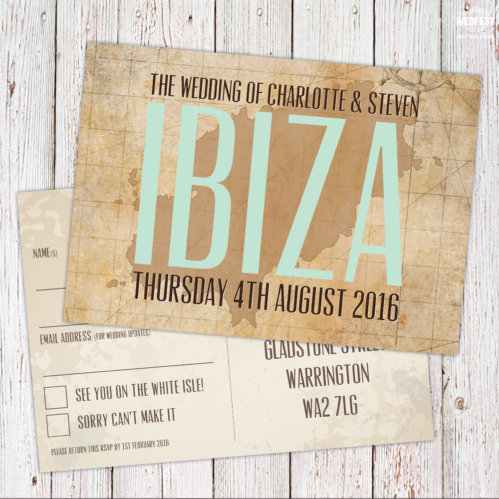 ibiza wedding rsvp postcards