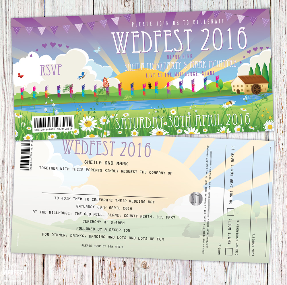 wedfest festival wedding invitation slane ireland