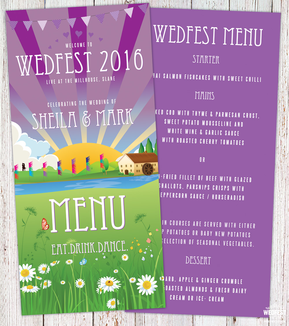 wedfest festival wedding menu