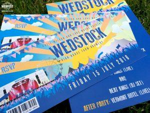 festival ticket wedding invite
