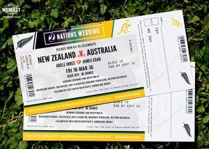 new zealand vs australia rugby ticket wedding invitation