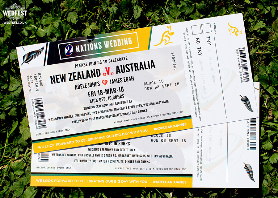 new zealand vs australia rugby ticket wedding invitation