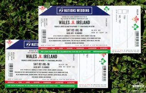 rugby themed ticket wedding invitations