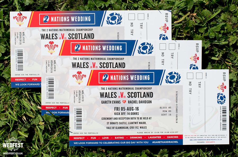 wales v scotland rugby ticket wedding invites