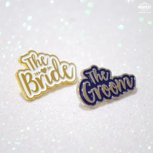 bride and groom wedding pin badges gift set