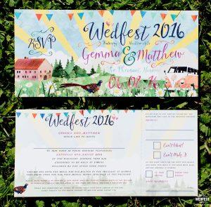 festival wedding watercolour invitations