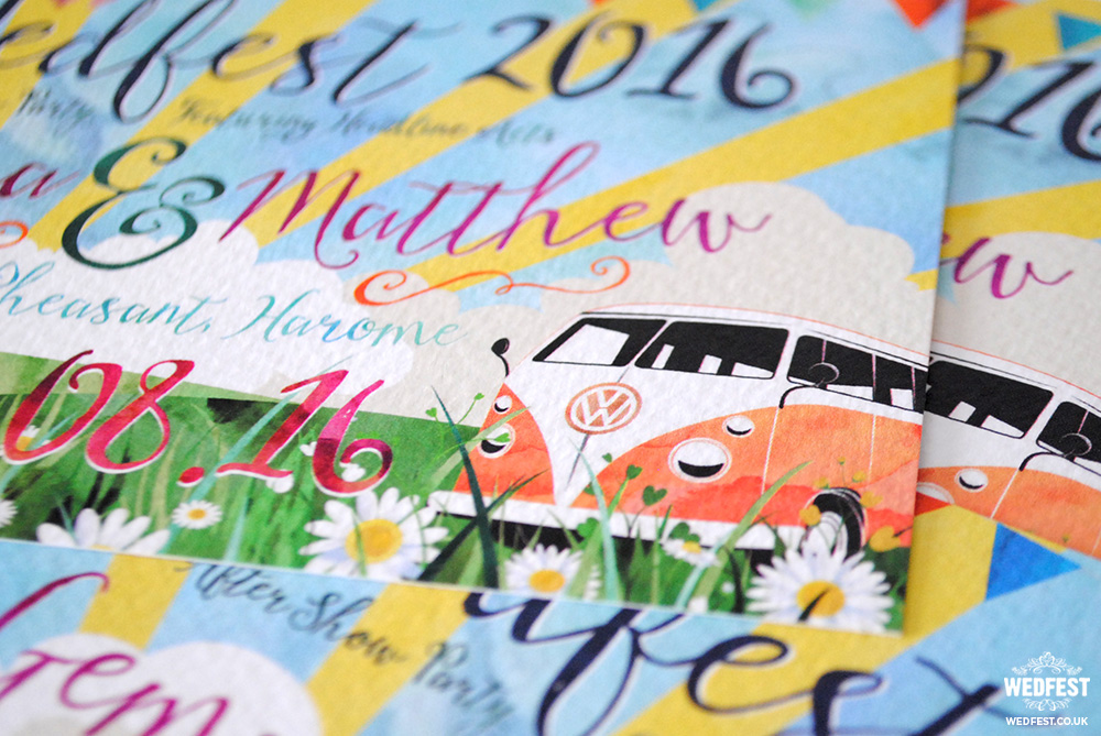 vw camper festival wedfest wedding invitation