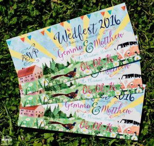 wedfest festival weddings watercolour wedding invites