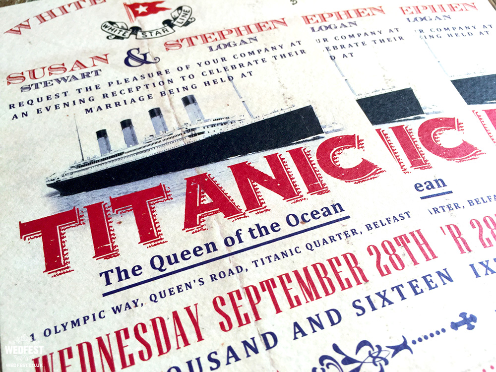 titanic theme wedding invitations
