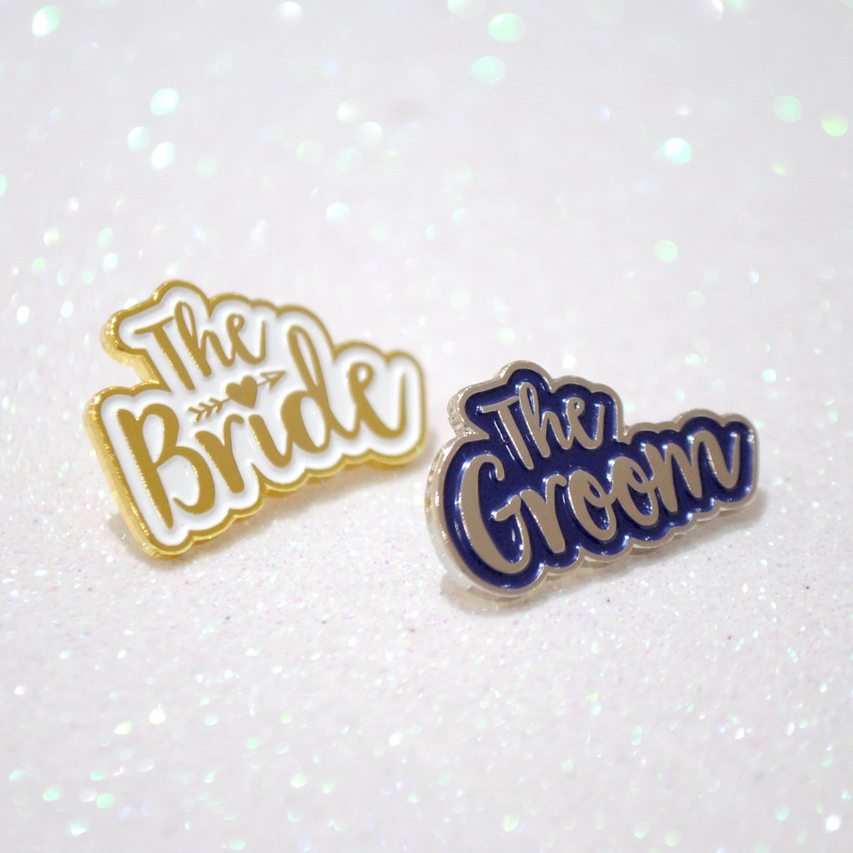 bride and groom pin badges