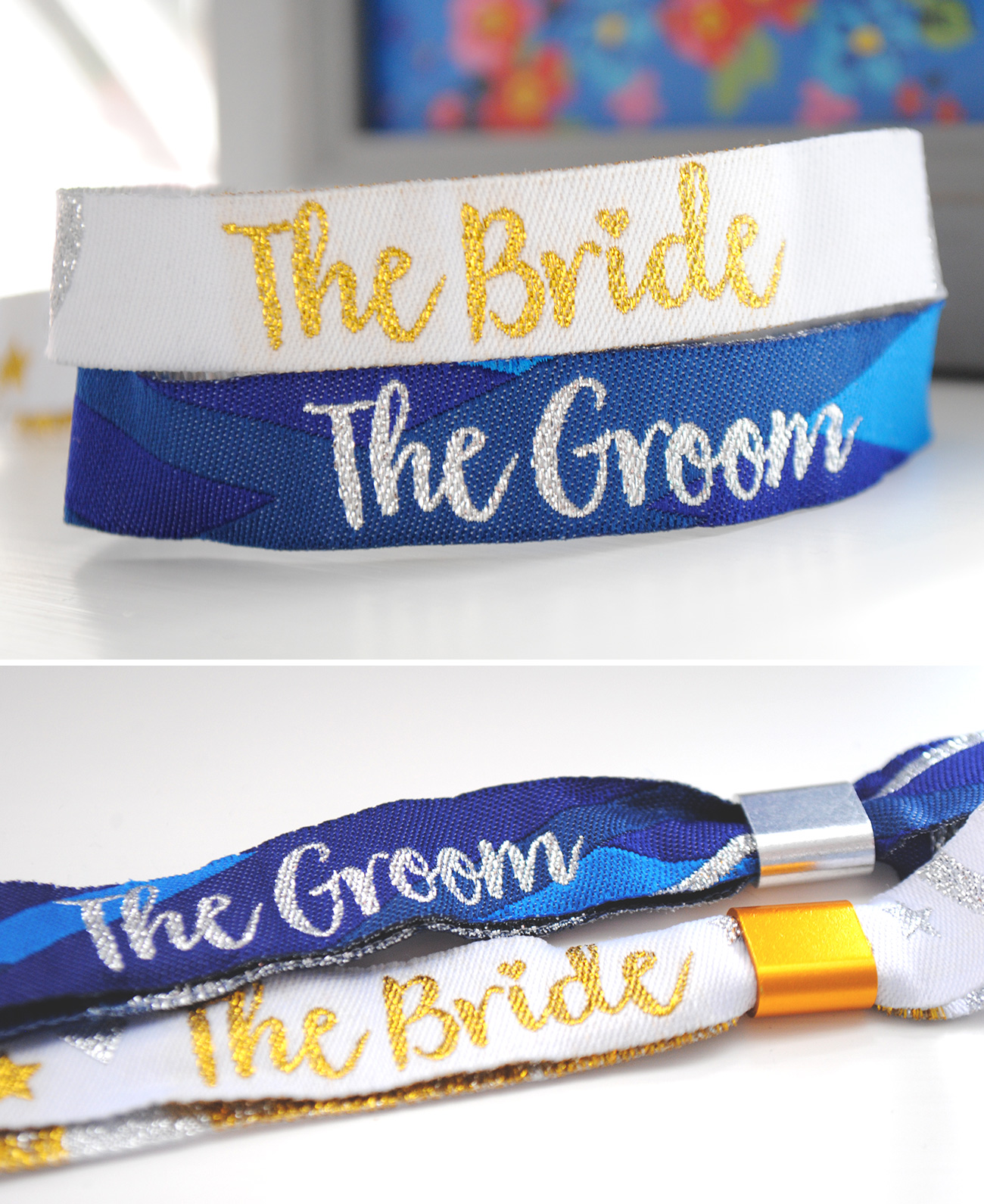 bride and groom wedding wristband accessories