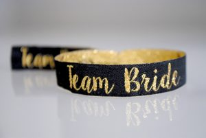 black gold hen party team bride wristband