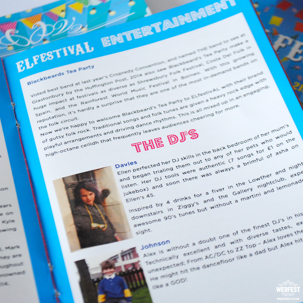 elfestival wedding programme guide booklet