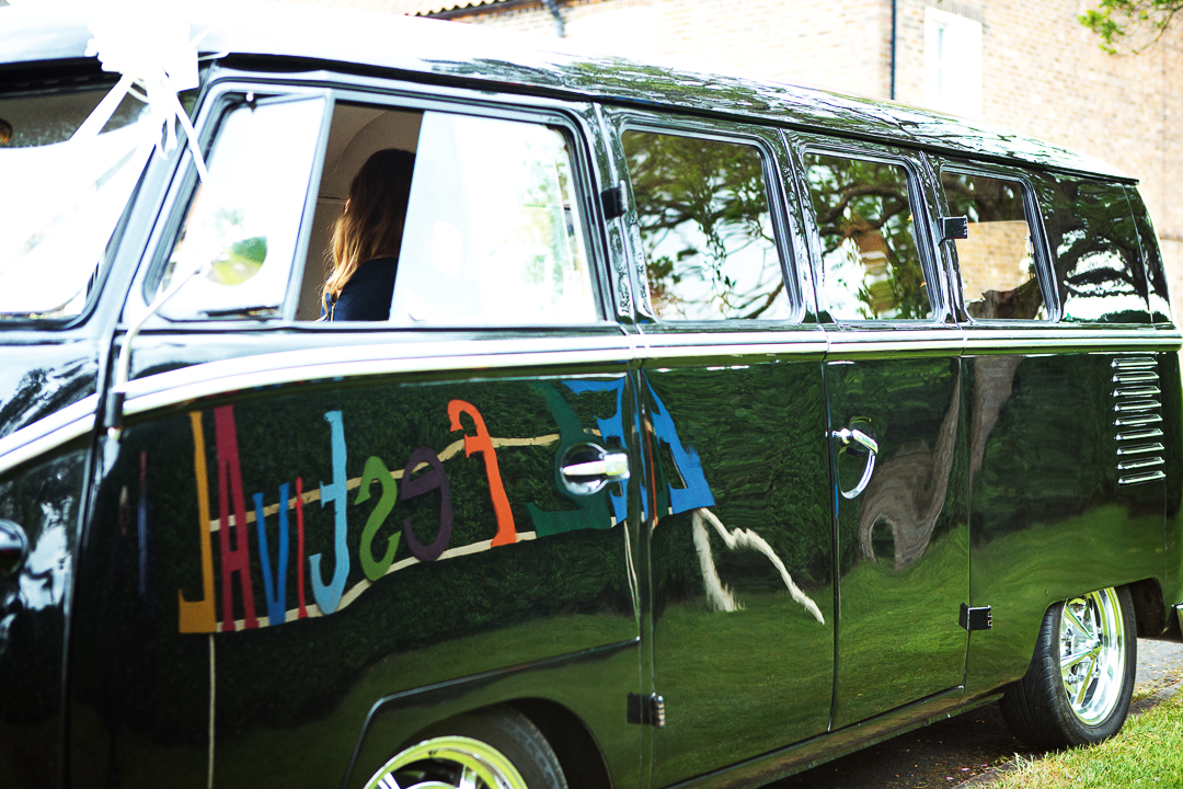 ellen alex festival wedding vw van