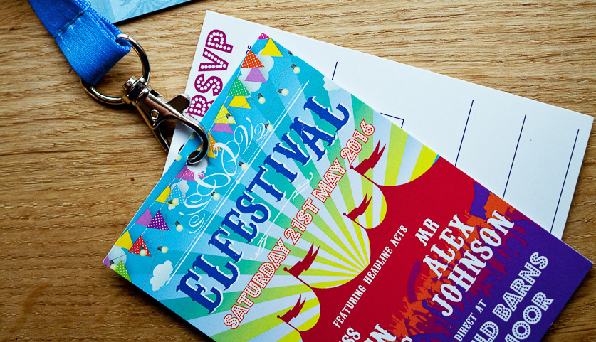 festival wedding invitation lanyard