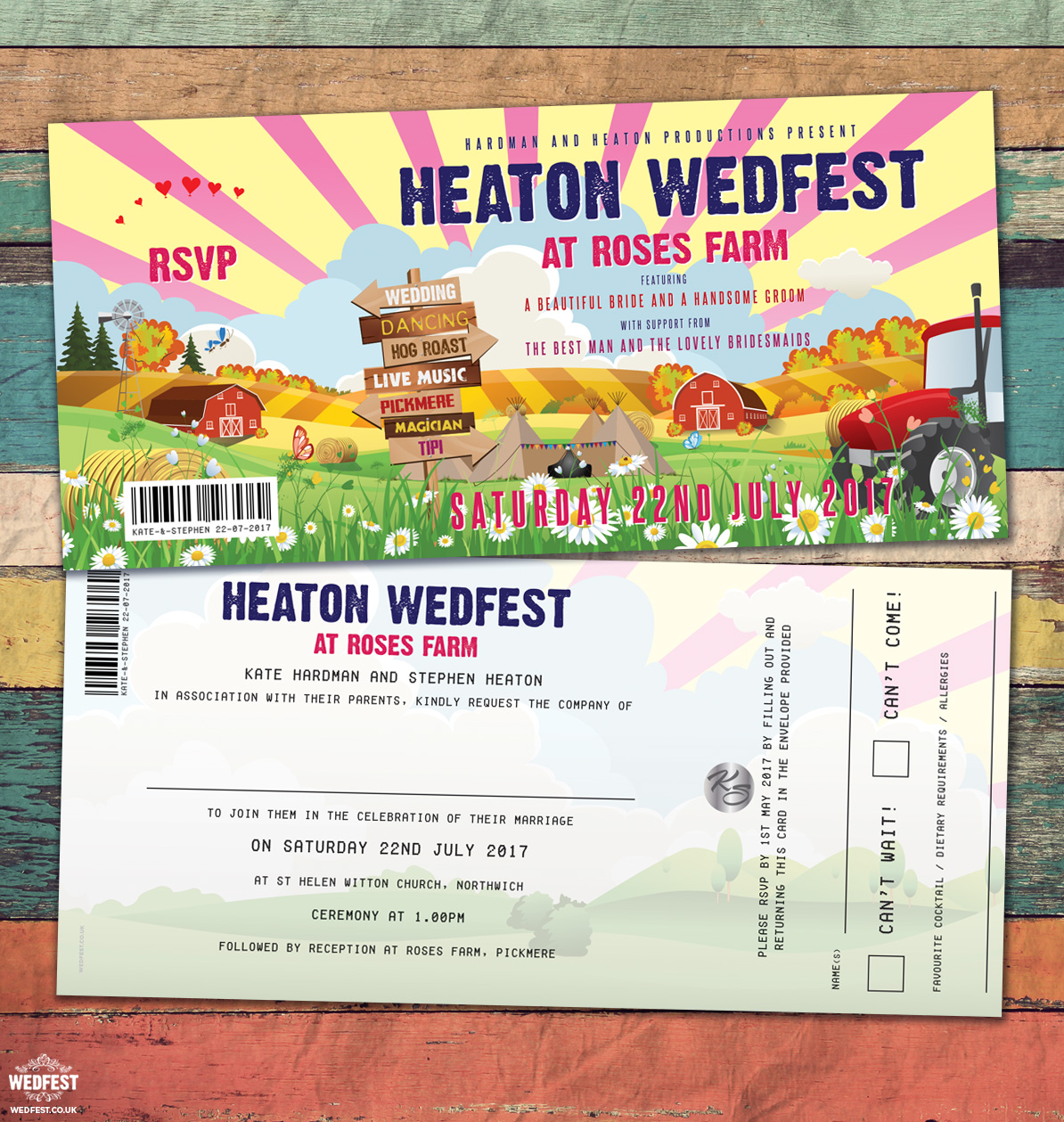 festival farm wedding invites
