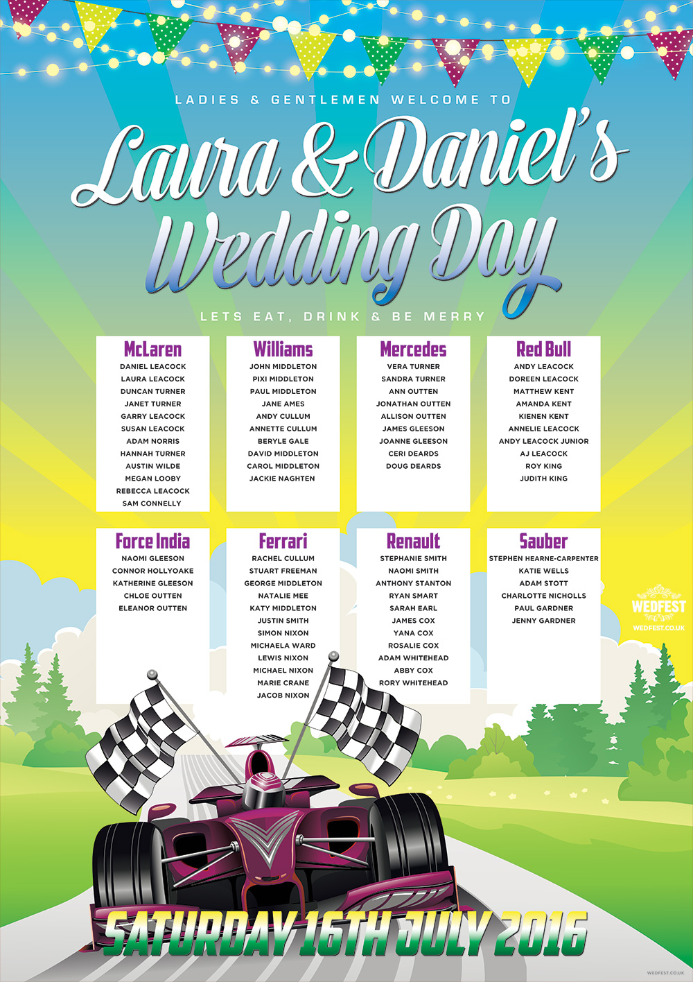 formula 1 wedding table seating plan