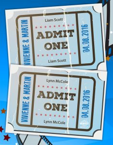 cinema ticket wedding place name cards