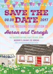 craft village derry festival wedding invitation save the date