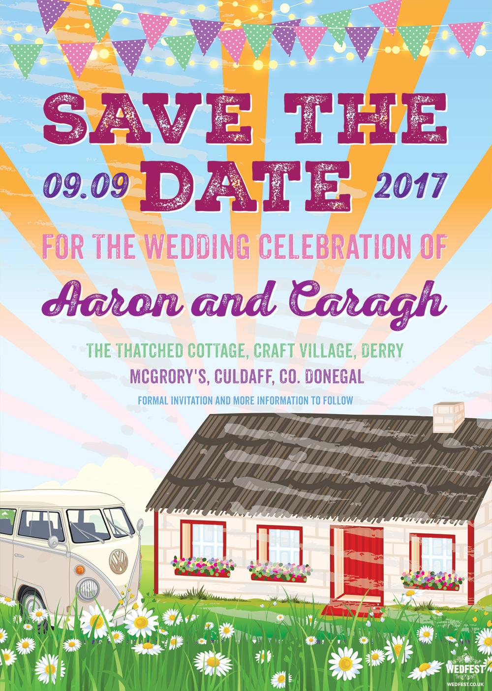 craft village derry festival wedding invitation save the date