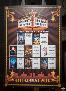 movies cinema mounted wedding table seating chart