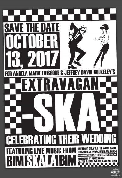 ska music wedding save the date invitations