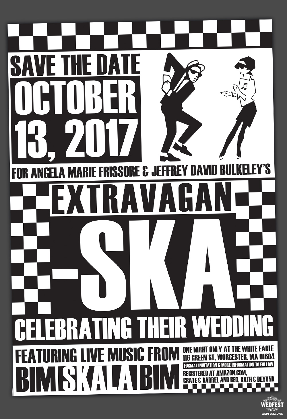 Ska Music Wedding Save The Date Invitations