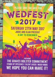 summer wedfest festival wedding save the date