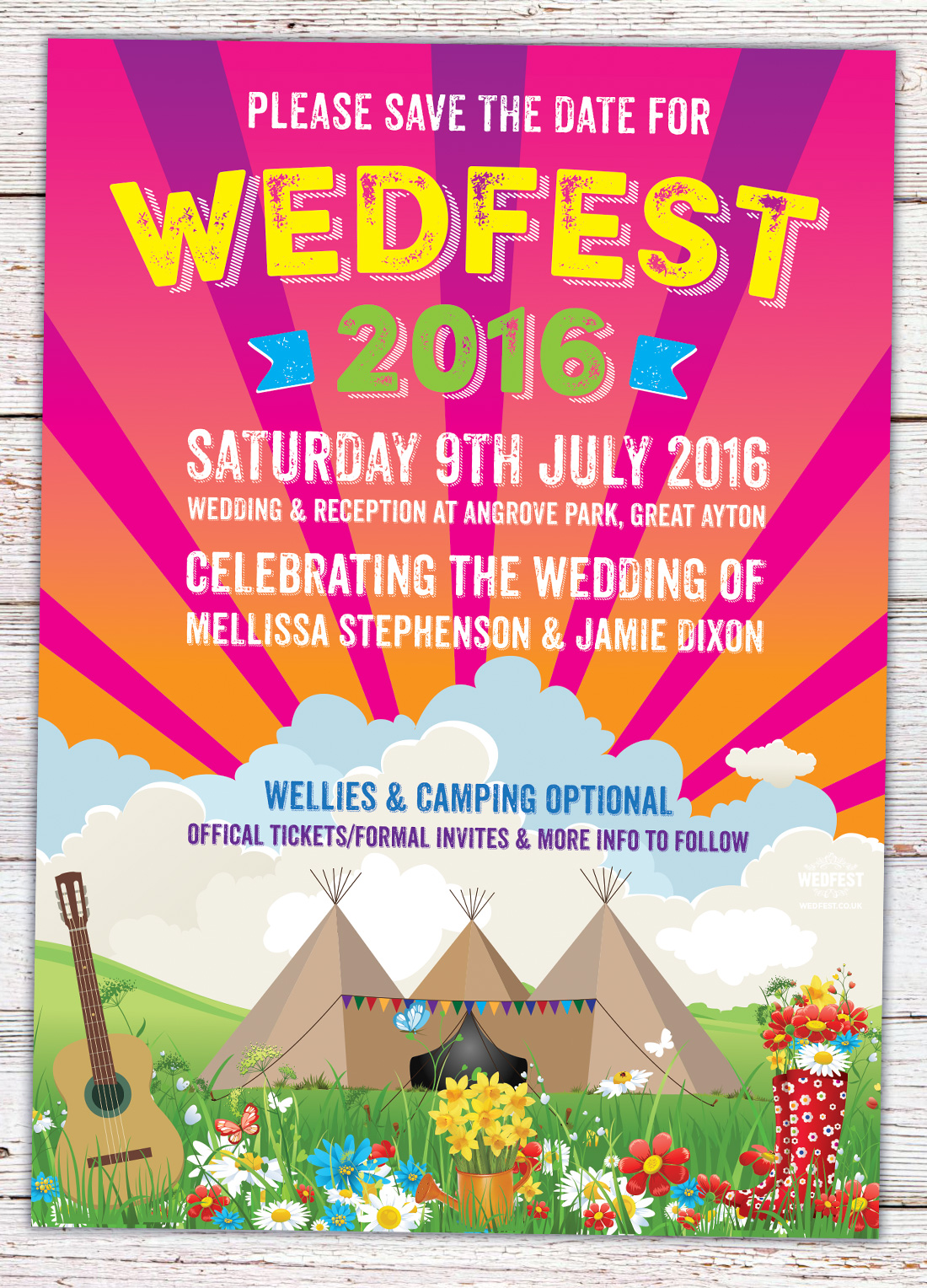 tipi festival wedding wedfest save the date cards