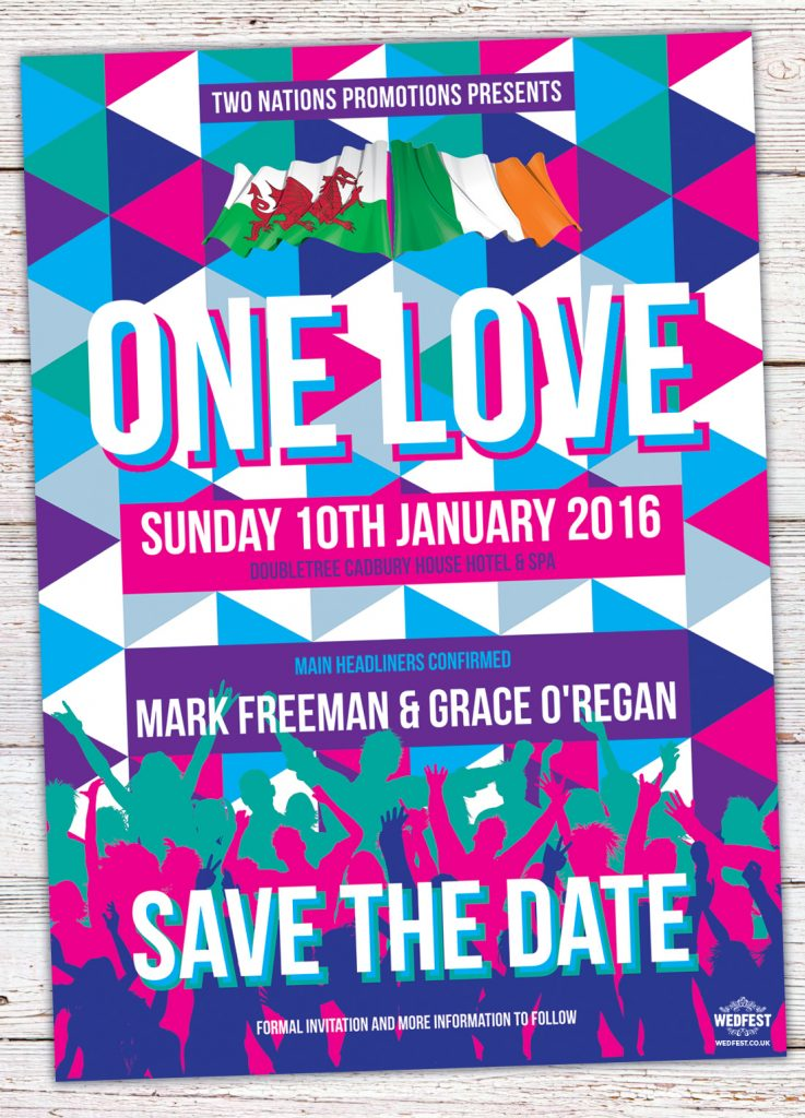 triangle geometric music festival wedding save the date one love