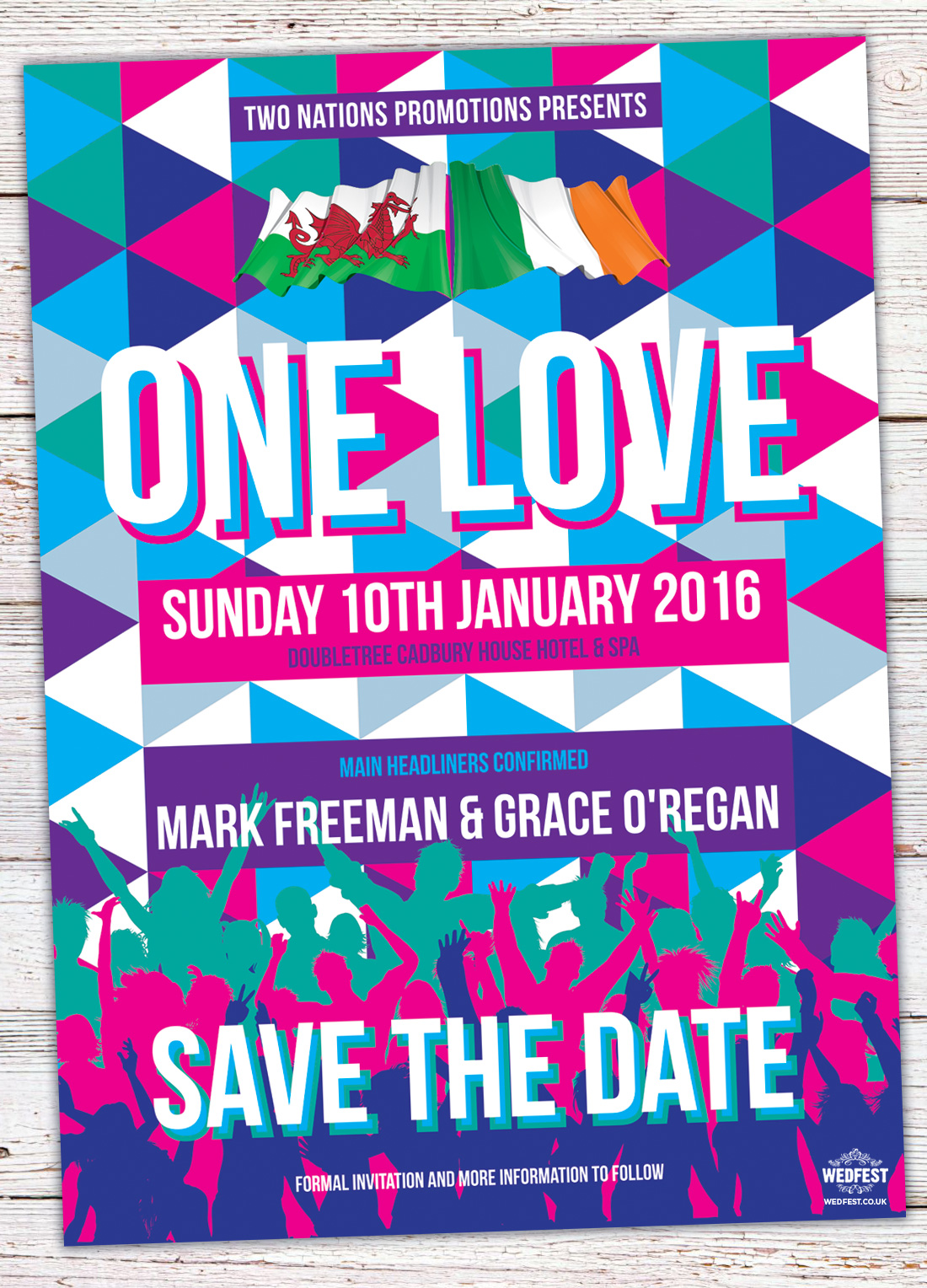 triangle geometric music-festival wedding save the date one love