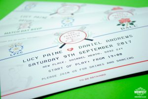 cricket fans wedding invitations