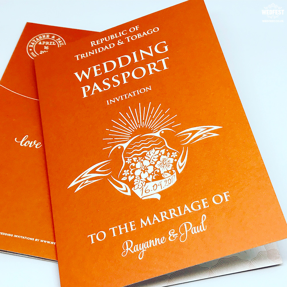 custom passport wedding invitations