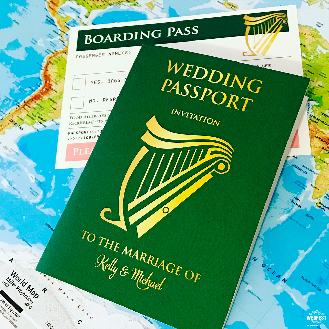 irish passport wedding invitations