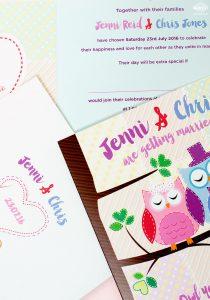 owl themed wedding invites
