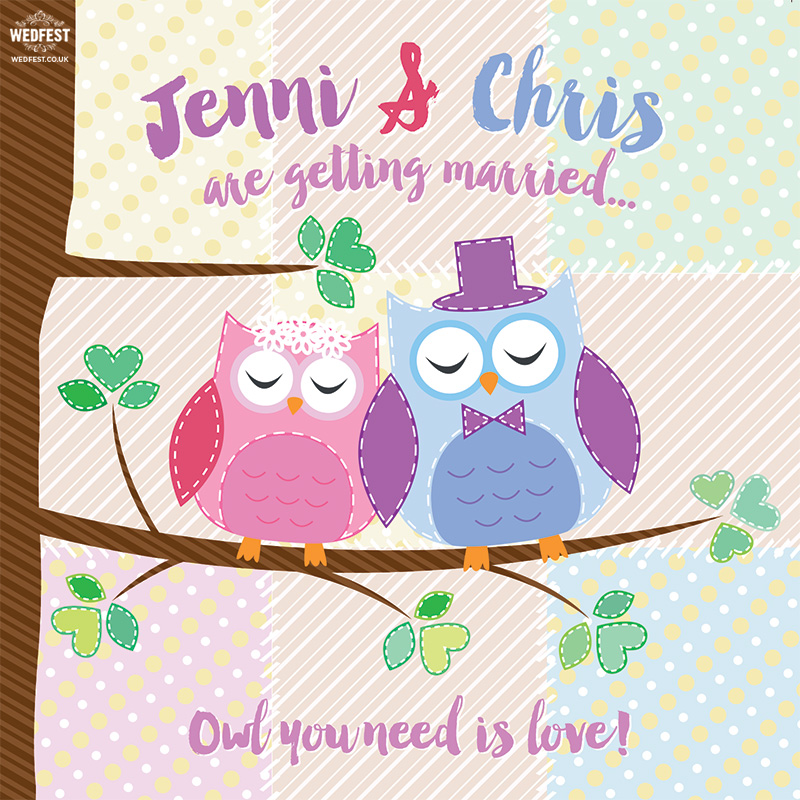 owl you need is love wedding Invitation