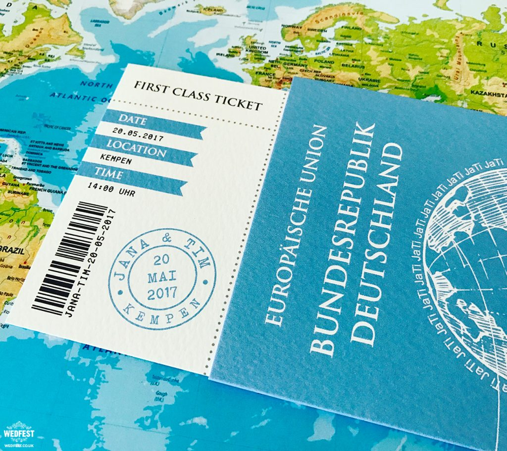 passport boarding card wedding invite