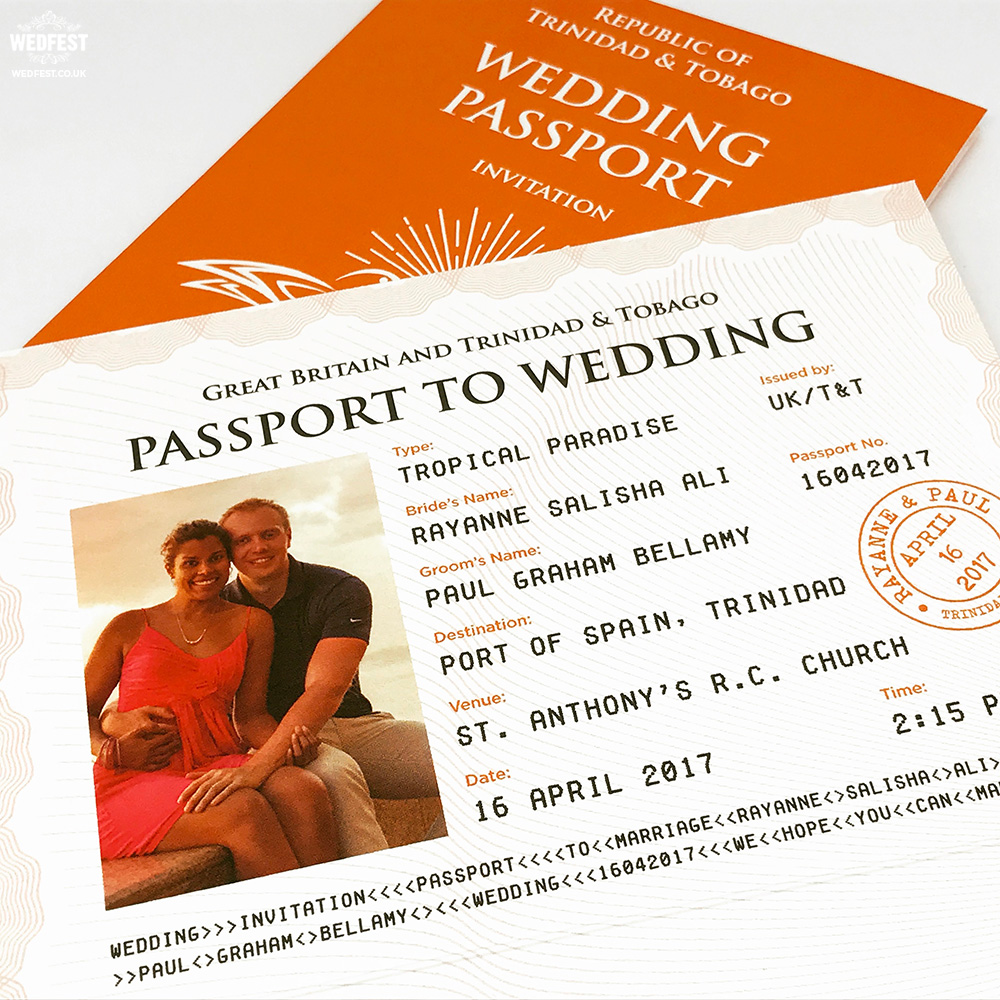 personalised wedding passport invites