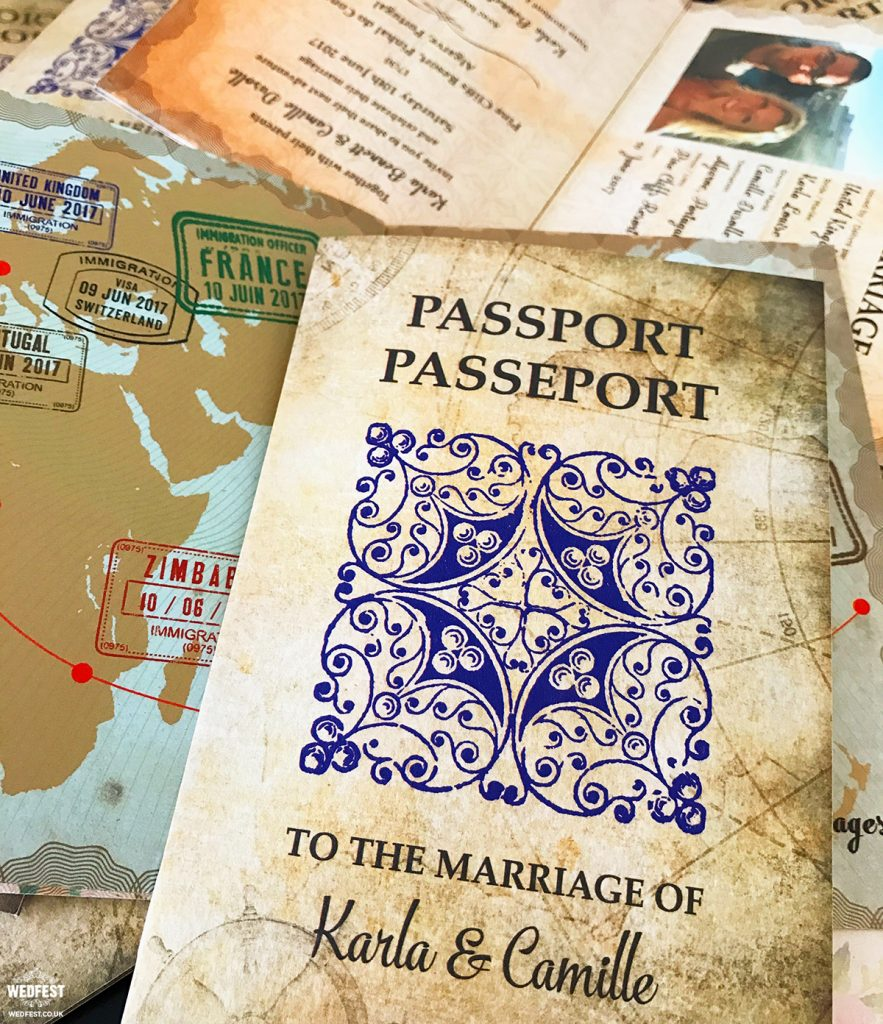 travel passport wedding invite
