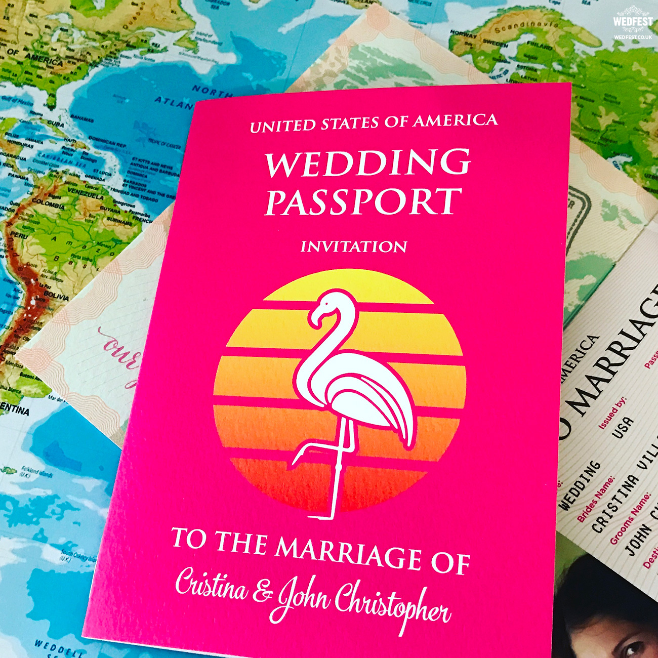 usa pink flamingo las vegas wedding passport invite
