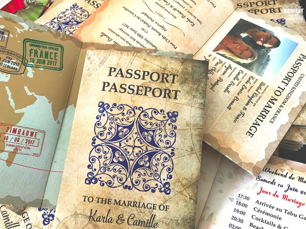vintage wedding passport booklet