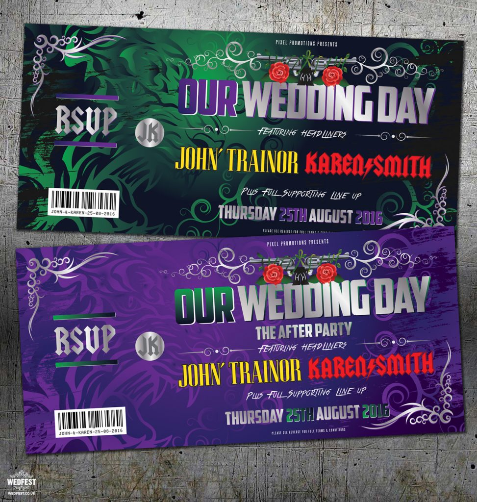 acdc guns n roses rock-n-roll wedding invitation