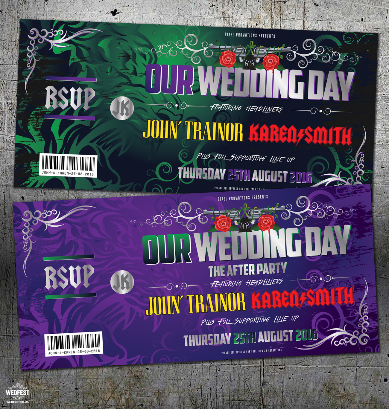 acdc guns n roses rock-n-roll wedding invitation