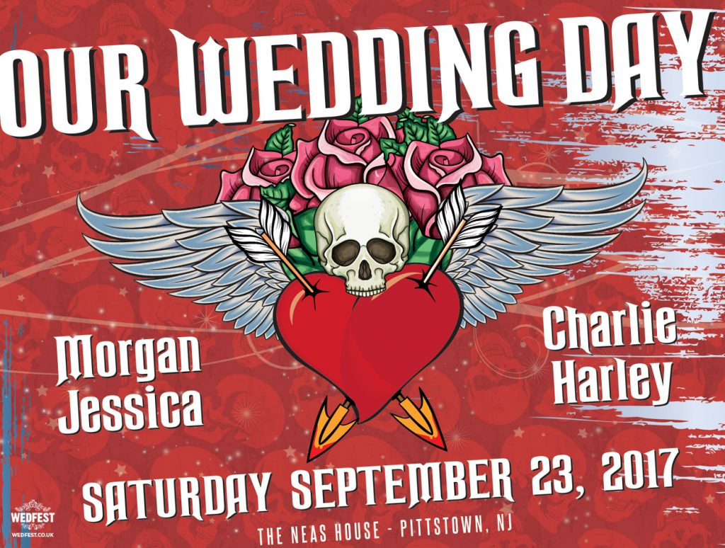heavy metal rock tattoo wedding invitation