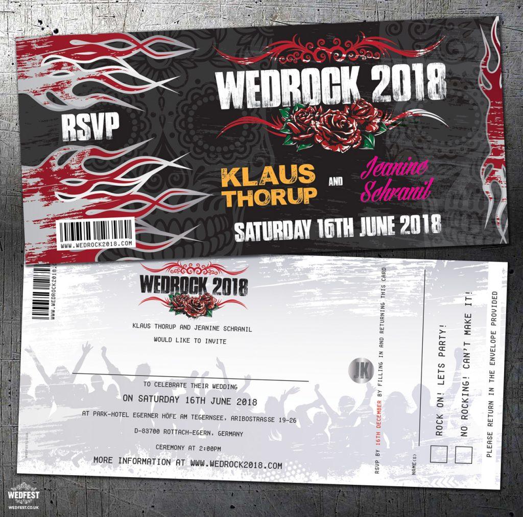 heavy metal rockers wedding invitation