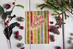 merry christmas cards vintage rustic style
