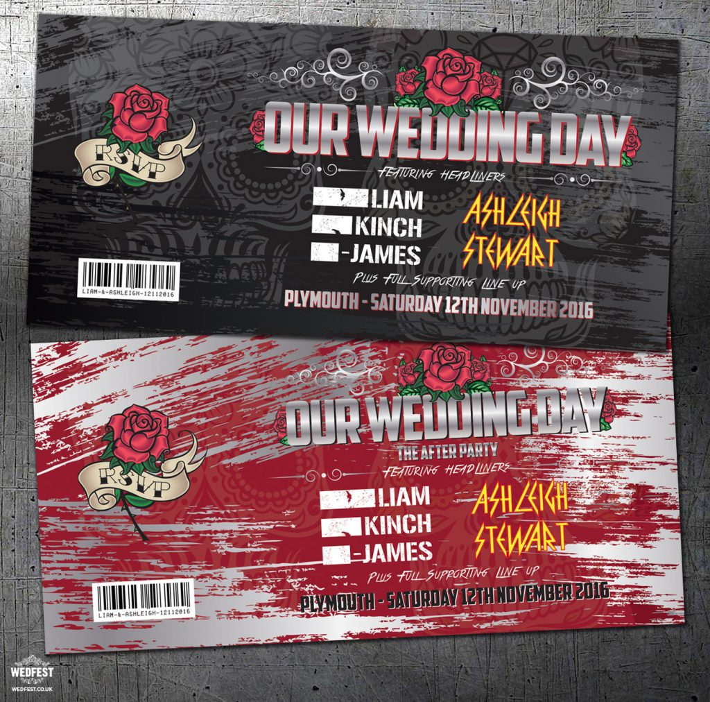 rock concert ticket theme wedding invitations