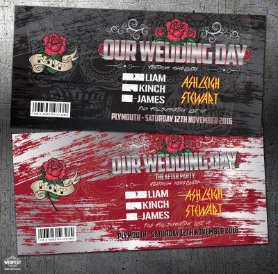 rock concert ticket theme wedding invitations
