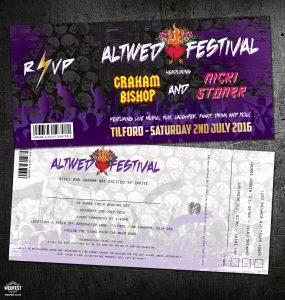 rock music concert ticket alternative wedding invitation