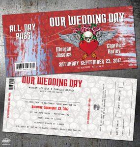 tattoo skulls rock n roll wedding invitation